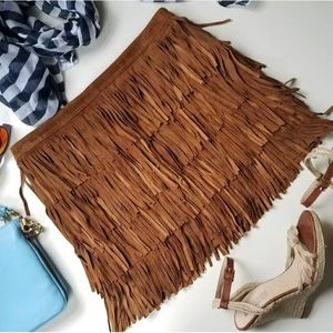 Zara Brown Suede Pig Leather Fringe Mini Skirt
